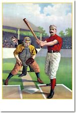 Batter Up - Vintage Sports Baseball Art Print    POSTER