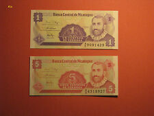 2 Banknotes NICARAGUA 1 & 5 Centavos 1991 note Paper Money Currency Bill UNC