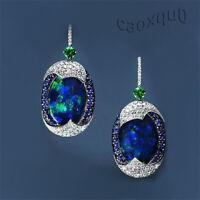 Silver Opal Exquisite Drop Blue 925 Ear Dangle Hook Women's Sapphire Earrings