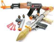 3x Toy Guns Toy Bazooka Friction AK-47 Toy Rifle Grey 9MM Dart Pistol Set