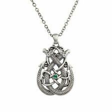 Intertwined Couple Snake Serpent Dragon Celtic Necklace Pendant Jewelry