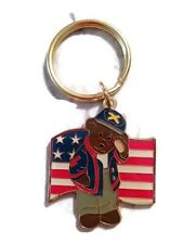Boyds Bear Country Key Ring United States Flag Gold Tone And Enamel Key Chain