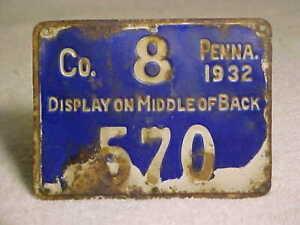 1932 METAL PENNSYLVANIA PA RESIDENT HUNTING LICENSE ~ # 570