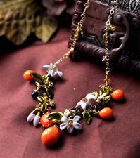 Dot & Line enamel flowers orange fruit branch leaf statement collar necklace