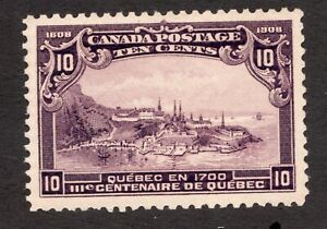 #101  -  Canada -  1908 -  10 Cent -  MLH  -  VF -  superfleas - cv$300