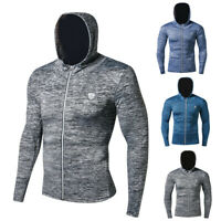 Men's Workout Hoodie Fitness Zip Up Shirt Running Cycling Thumbhole Long Sleeved