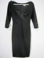KAREN MILLEN ENGLAND 3/4 SLEEVE SHEATH COCKTAIL DRESS 4 BLACK TWISTED NECK 162