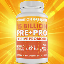 PROBIOTICS + PREBIOTIC FIBER DIGESTION ULTIMATE 12 STRAIN PURE 15 BILLION CFU