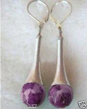 purple jade Tibet Silver hook dangle earring pretty!