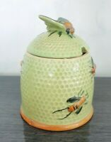 Rare Vintage Green Cottage Ware Pouring Honey Pot Jar Foreign Honey Bees