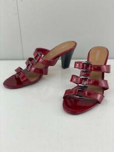 Corelli Womens Dallas Red Patent Leather Strappy Slip On Block Heels Size AU 8