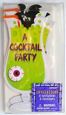 8 Green Cocktail Glass Halloween Party Invitation Cards & White Envelopes (2001B