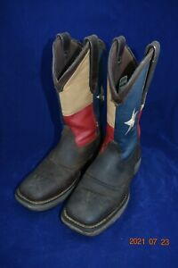 Rebel by Durango Texas Flag Leather Square Toe Pull On Work Boots Men's Size 7EE