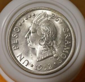 Dominican Republic, Un Peso, 1952, Silver, Brilliant Uncirculated