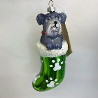 Schnauzer Dog Christmas Ornament Gray Dog in Green Stocking Holiday Decoration