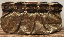 ANYA HINDMARCH METALLIC GOLD CLUTCH WITH WOODEN EMBELLISHMENTS