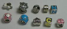 925 Sterling Silver - Lot Of Ten European Dangle Charm Beads