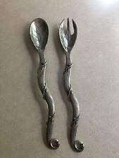Salad Serving Set - Metal - Unique Vine And Leaf Design