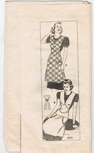 1940s Bib Apron Pattern M Pockets Pointed Waist Insert Cut Complete Mail Order