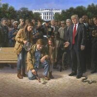 PRESIDENT DONALD TRUMP CROSSING DRAINING THE SWAMP WHITE HOUSE 8X10 PHOTO POSTER