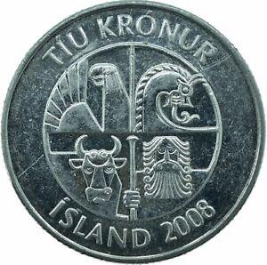 COIN / ICELAND / ISLAND / 10 KRONUR 2008   #WT22727