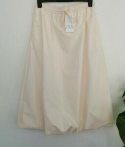 Zara SS20 Join Life Poplin Voluminous Drawstring Midi Skirt L Large Vanilla
