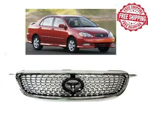 For 2003 2004 2005 2006 2008 Toyota Corolla Grille Diamond Chrome Front Hood
