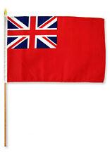"12x18 12""x18""  British Red Ensign Stick Flag wood staff"