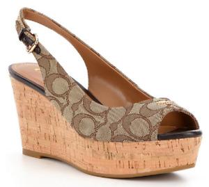 New Coach Ferry Wedge Sig Jacquard Monogram Khaki Chestnut Shoes