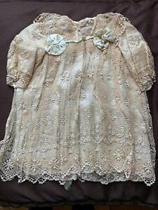 STUNNING Antique Child Lace DRESS - Needle lace, Green Almond ribbons...