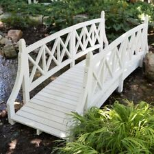 Country Farmhouse White Wood 8 Foot Garden Bridge Outdoor Yard Lawn Landscaping