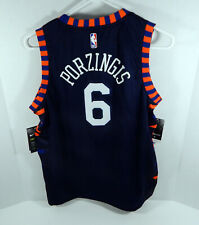 Youth New York Knicks Kristaps Porzingis #6 Azul Ciudad Edición Jersey Swingman,