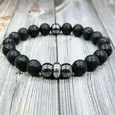 """Lava+Hematite Gemstone Beaded Men's Bracelet Hip 8""""L Stainless Steel 10mm Black"""