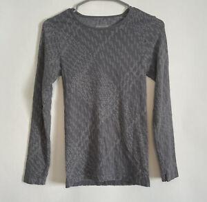 Athleta Base Layer Patterned Gray Long Sleeve Organic Cotton Women's Size XS