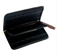 Leather Pencil Case for 36 Fountain Roller Ball Pens PU Storage Zip Bag Holder