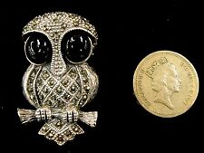 Plata esterlina 925 Negro Onyx Marcasita Búho Grande 2D Estilo Vintage Pájaro Broche Pin