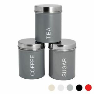 3x Tea Coffee Sugar Canisters Storage Set Kitchen Jars Containers Metal Grey