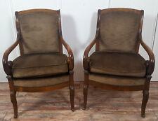 Superbe paire de fauteuils époque Empire en acajou lot B