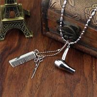 Hair Dryer/Scissor/Comb Dangle Pendant Necklace Hair Stylist Jewelry Gifts JB
