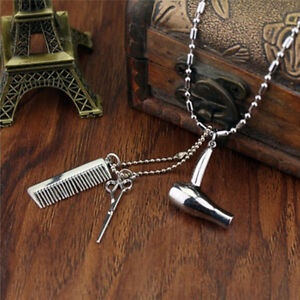 Hair Dryer/Scissor/Comb Dangle Pendant Necklace Hair Stylist Jewelry GiftS1