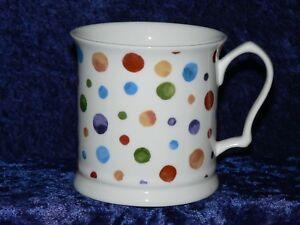 Spots colourful fine bone china tankard large mug. Dots polka dots sponged spots
