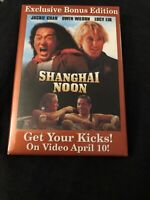 Shanghai Noon Pin Back Video Store Button Jackie Chan Movie Promotional Promo