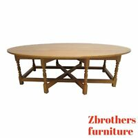 Custom English Oval Monumental Coffee Serving Table Carved Oak
