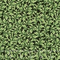 Orchid Leaves on Black Timeless Treasures 100% cotton Fabric by the yard