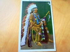 NICE OLD LINEN POSTCARD: OSAGE INDIAN IN FULL DRESS, OKLAHOMA~ca 1950's