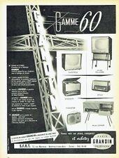 Publicité Advertising  1959  la gamme 60  radio télévision Grandin