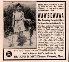 1922 AD WAWBEWAWA CAMP BOY PHOTO FISH NET SQUAM LAKE ASHLAND OWNERS SON