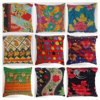 Indian Handmade Kantha Embroidery Floor Reversible Vintage Cushion Cover 40x40cm