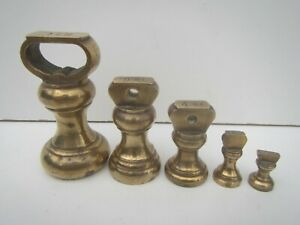 Vintage Brass Kitchen Scale Balance Weights - 1/2oz to 1lb