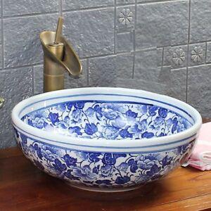 Vintage Bathroom Cloakroom Ceramic Counter Top Wash Basin Sink Kasbah Craft Bowl